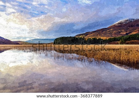 Digital oil painting from a photograph of Beinn na Caillich & Loch Cill Chriosd on the Isle of Skye in the highlands of Scotland on a sunny day with snow capped mountains and reflections on the water