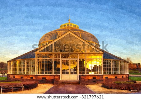 Digital oil painting from a photograph of the rear elevation of the Winter Gardens of the People's Palace, Glasgow Green,Glasgow, Scotland with a reflection in the glass of the city skyline at sunset - stock photo