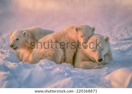 Digital oil painting of polar bear with her cubs - stock photo