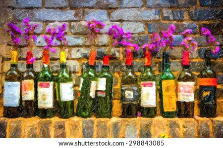 Digital oil painting of  Red wine bottle - stock photo