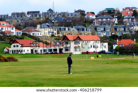 Digital oil pastel sketch from a photograph of golfer playing in front of the Clubhouse of West Kilbride Golf Club, an 18 hole links course located on the North Ayrshire Coast of Scotland - stock photo