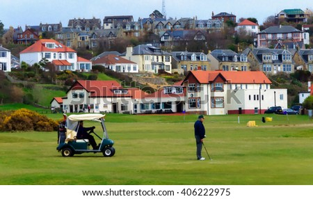 Digital oil pastel sketch from a photograph of golfers playing in front of the Clubhouse of West Kilbride Golf Club, an 18 hole links course located on the North Ayrshire Coast of Scotland - stock photo