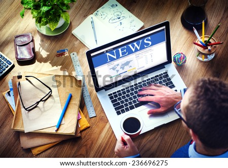Digital Online Global News Update Concept - stock photo