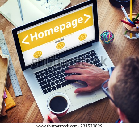 Digital Online Homepage Web Page Office Working Concept - stock photo