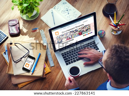Digital Online Internet Browsing Development Diversity  - stock photo
