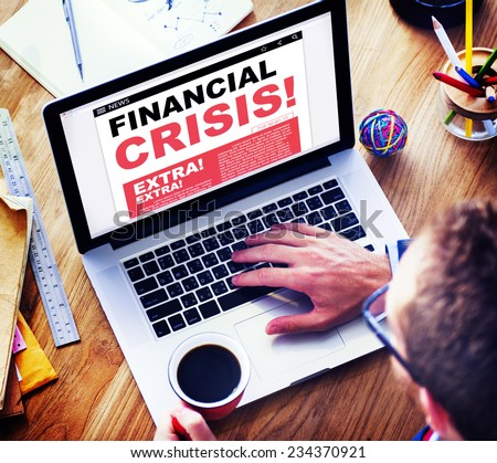Digital Online News Headline Financial Crisis Concept - stock photo