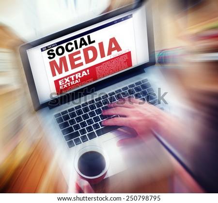 Digital Online News Social Media Concept - stock photo