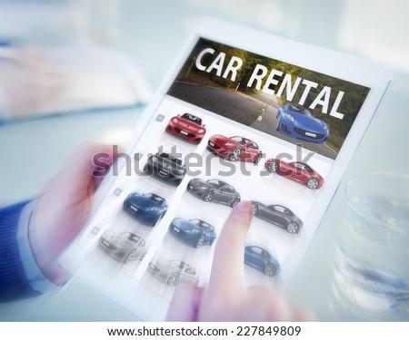 Digital Online Search Car Rental Concept - stock photo