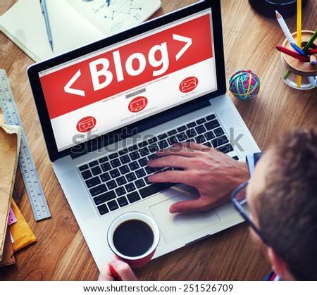 Digital Online Social Media Blog Working Concept - stock photo