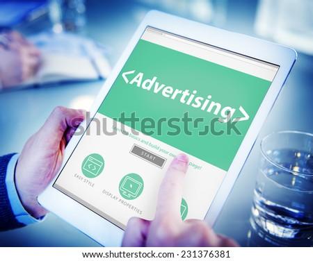 Digital Online Webpage Advertising Marketing Concept - stock photo