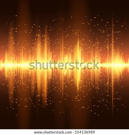 Digital orange light Equalizer background. Raster version. - stock photo