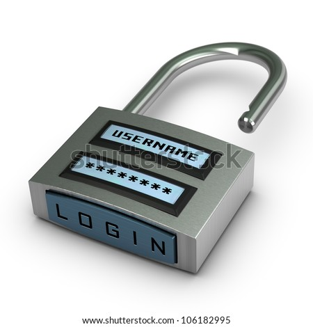 digital padlock with user name and password plus login button opened over white background with shadow - stock photo