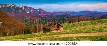 """Digital painting. Abandoned old derelict country barn in mountains - """"Bratocea"""" glade, """"Ciucas"""" mountains, Romania, 1300m. Can be used for wallpaper, canvas print, decoration, banner, advertising. - stock photo"""