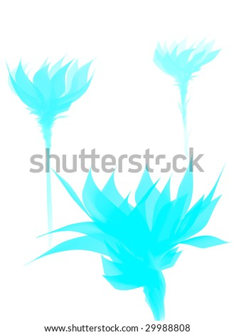 Digital painting - artistic flowers background - stock photo