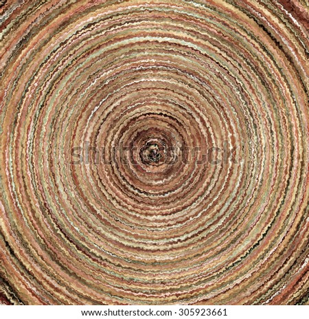 Digital Painting Beautiful Abstract Spatter Paint Vortex Surface in Different Shades of Rustic Tree Growth Rings Colors Background - stock photo