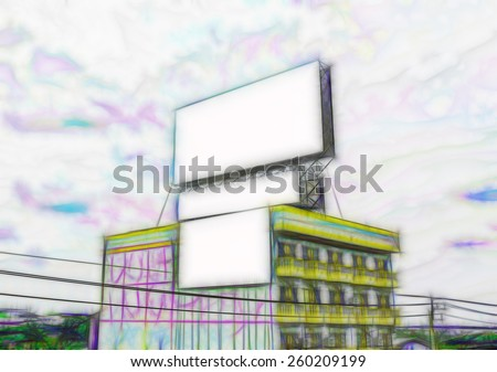Digital painting colorful style blank billboard on building. - stock photo