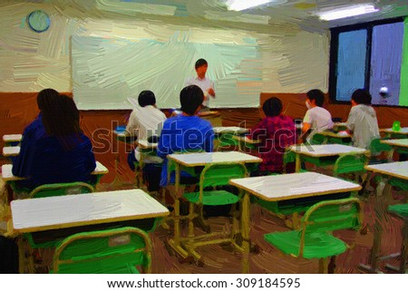 Digital painting colorful style person in classroom for training. - stock photo