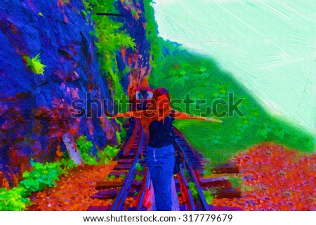 Digital painting colorful style,woman happy on the railroad tracks. - stock photo