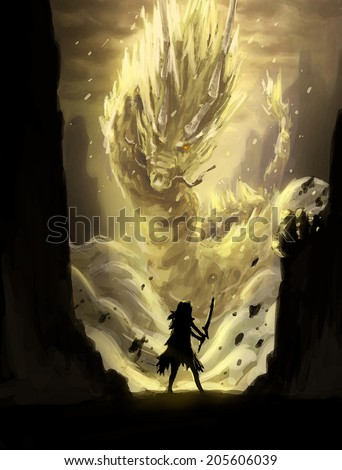 digital painting fight gold dragon warrior - stock photo