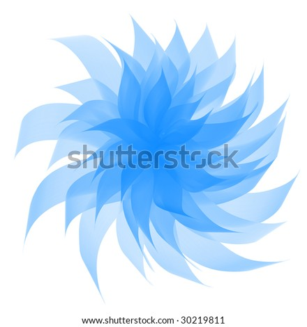Digital painting - gentle blue flower with semiopaque twisted petals; isolated on white. - stock photo