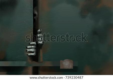 digital painting ghost in the door room.ghost hand & Digital Painting Ghost Door Roomghost Hand Stock Illustration ...