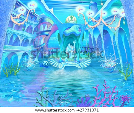 Digital Painting, Illustration of a Mysterious and Fantasy Undersea Atlantis Castle. Fantastic Cartoon Style Character, Fairy Tale Story Background, Card Design