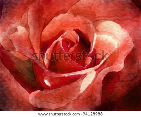 digital painting of a close-up of red rose petals - stock photo