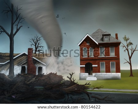 digital painting of a deadly tornado destroying houses in the Midwest - stock photo