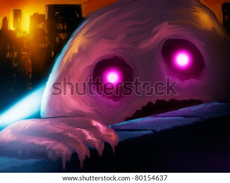 digital painting of a giant pink blob monster attacking a city