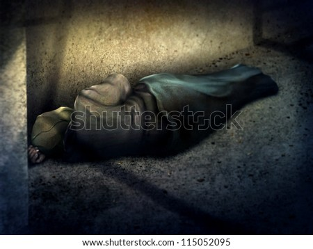 digital painting of a homeless man asleep on the ground in a dark alley - stock photo