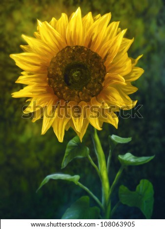 digital painting of a large yellow sunflower - stock photo