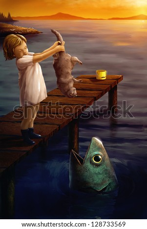 digital painting of a little girl feeding a cat to a fish in the ocean - stock photo