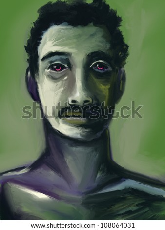 digital painting of a man's face in an expressionist style - stock photo