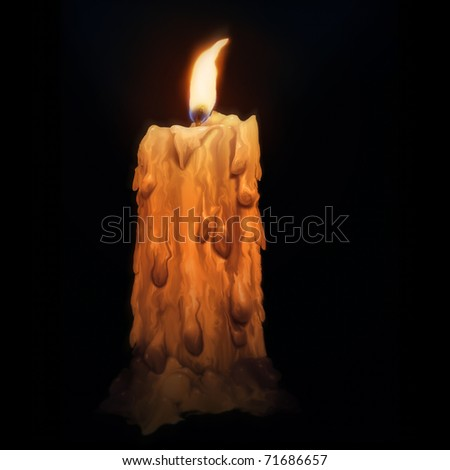 digital painting of a melting vintage candle, isolated in the darkness - stock photo