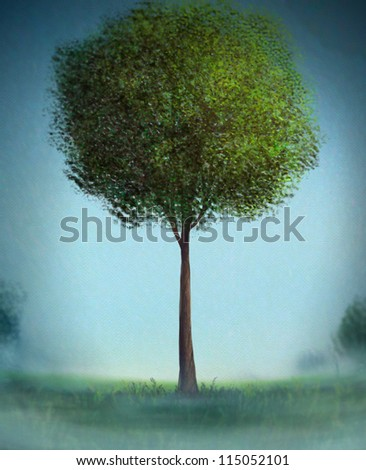 digital painting of a painterly tree with bushy green leaves - stock photo