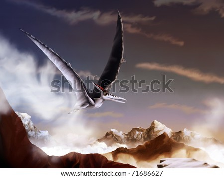 digital painting of a pterosaur, or pterodactyl, soaring over snow covered mountain peaks
