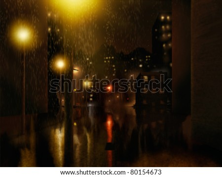 digital painting of a rainstorm in an urban night setting - stock photo