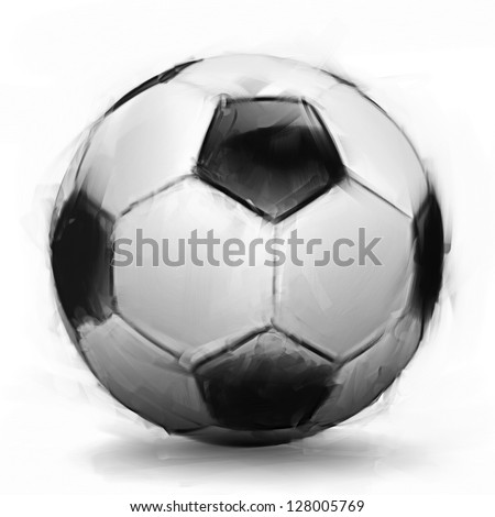 Digital painting of a soccer ball on white background - stock photo