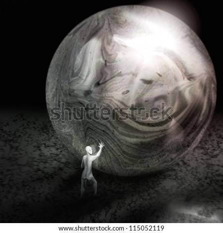 digital painting of a tiny man reflected in a large swirling sphere - stock photo