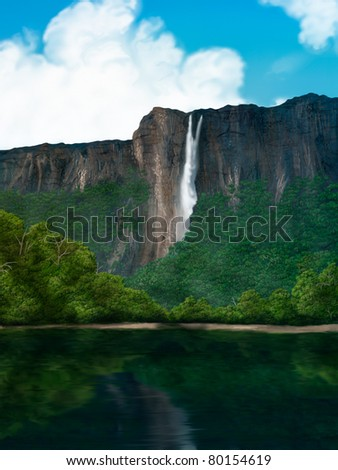 digital painting of a waterfall in the South American jungle - stock photo
