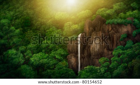 digital painting of a waterfall within a jungle canopy - stock photo