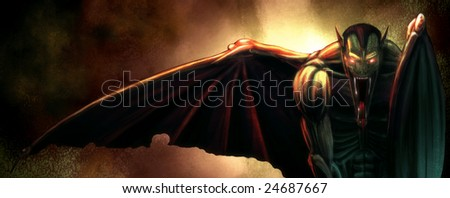 Digital Painting of a winged Evil Vampire Demon - stock photo