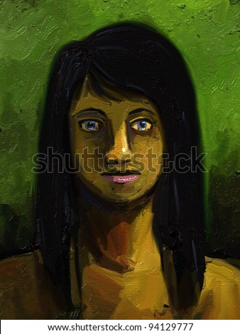 digital painting of a young woman with long black hair
