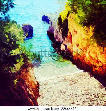 Digital painting of an Adriatic beach - stock photo