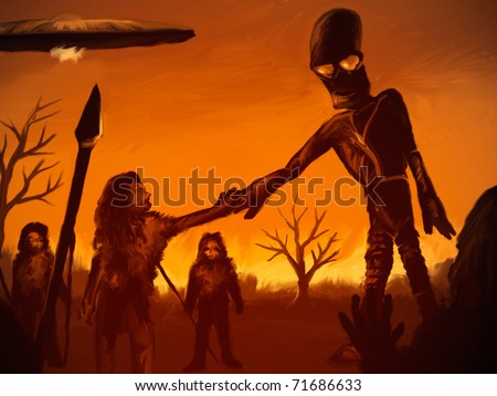 digital painting of an alien astronaut meeting with prehistoric humans - stock photo