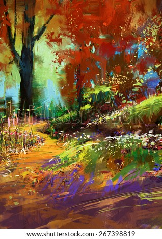 digital painting of autumn colorful forest - stock photo