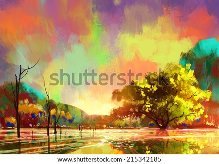 digital painting of beautiful lake,colorful sky - stock photo