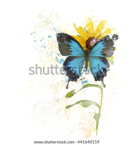 digital painting of  Blue Butterfly on a Flower - stock photo