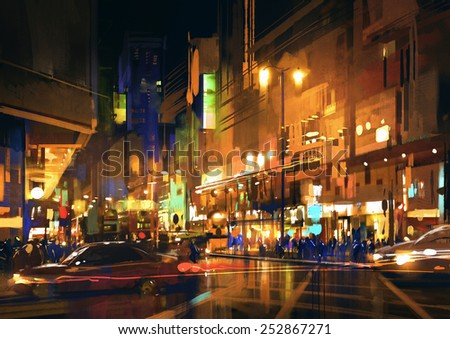 digital painting of city street at night with colorful lights. - stock photo