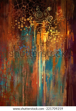 digital painting of colorful abstract grunge background with texture on the basis of paint - stock photo